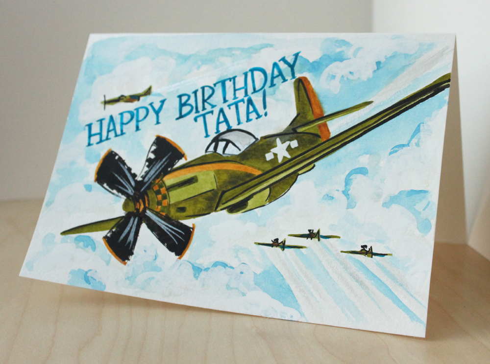 world war two planes happy birthday card