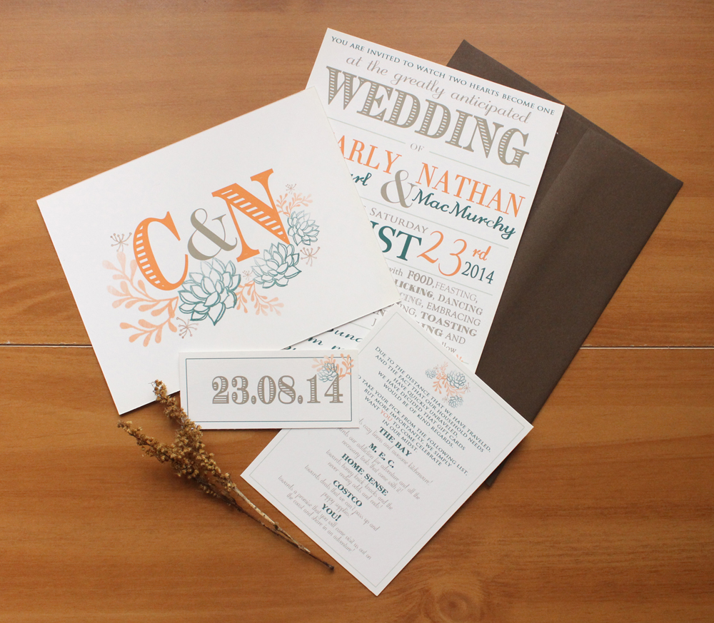succulent wedding invite suite