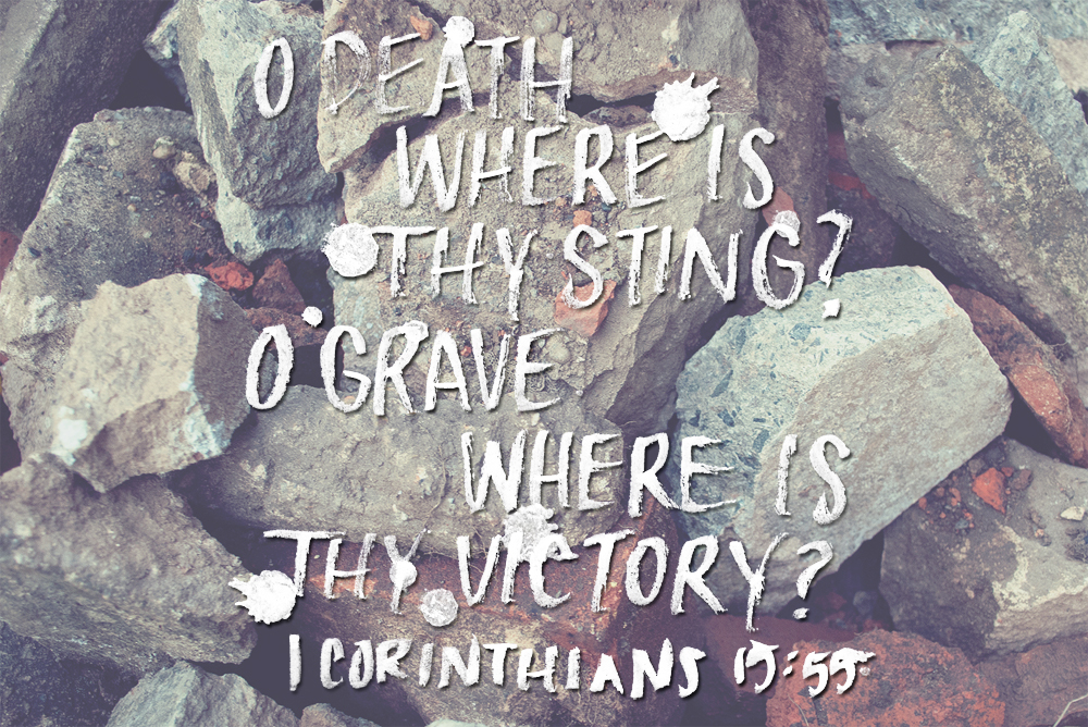 o death where is thy sting, o grave where is thy victory 1 corinthians 15:55 brush lettering by daughter zion designs