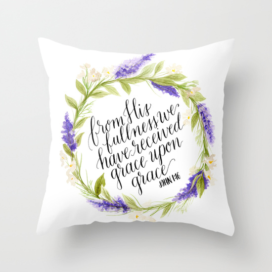 Grace Upon Grace - Pillow - Society6 - Daughter Zion Designs