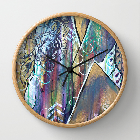 Gold Mountain Rose - Wall Clock - Society6 - Daughter Zion Designs