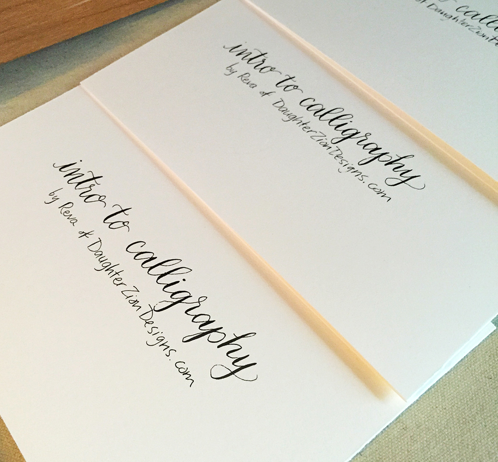 Intro to Calligraphy class booklets by Daughter Zion Designs