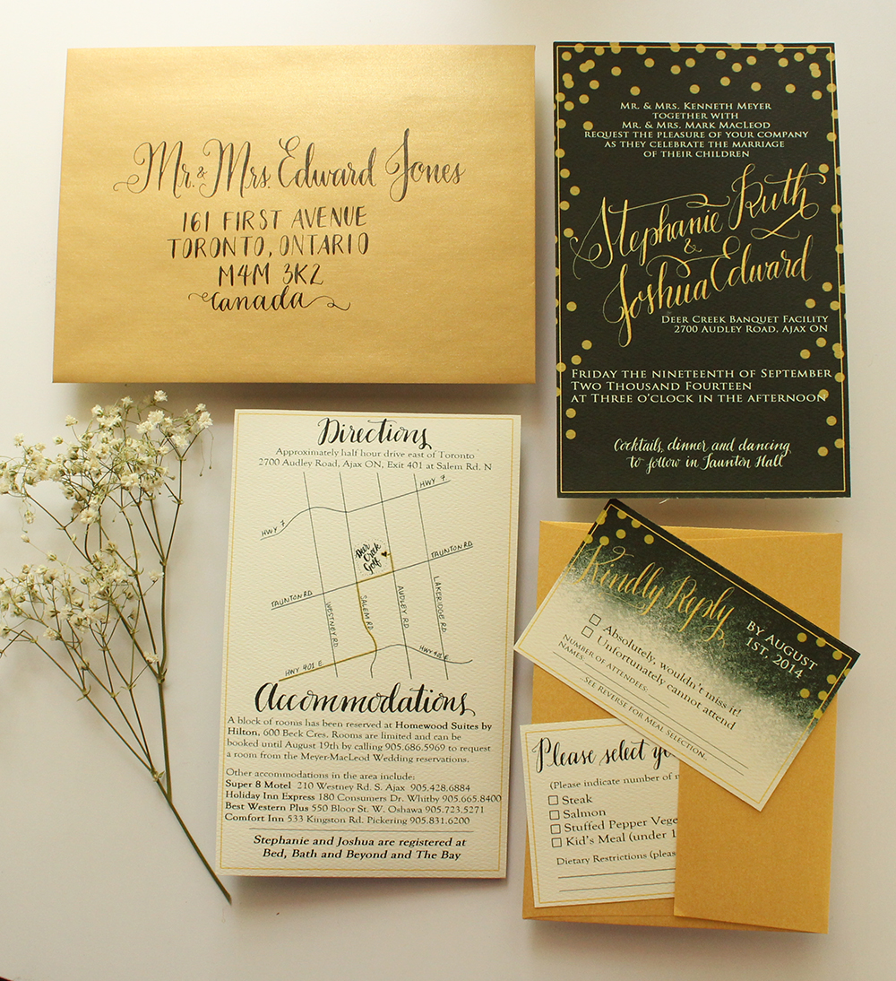 Green and Gold - Invitarion Suite - A MacLeod Wedding - by Daughter Zion Designs