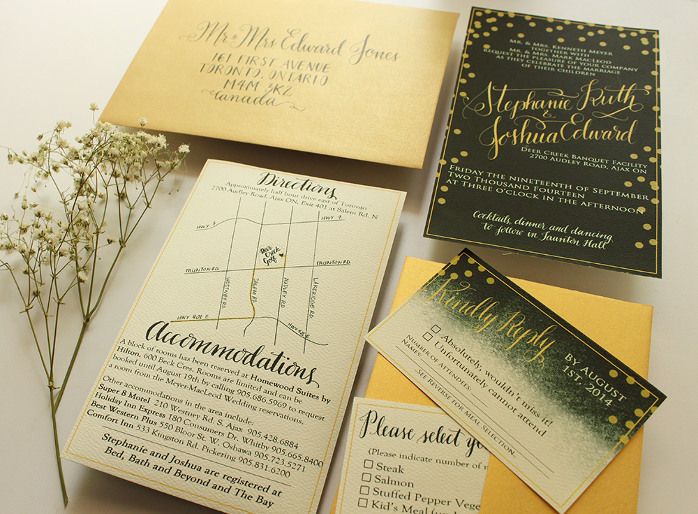Green and Gold - Invitation Suite - A MacLeod Wedding - by Daughter Zion Designs