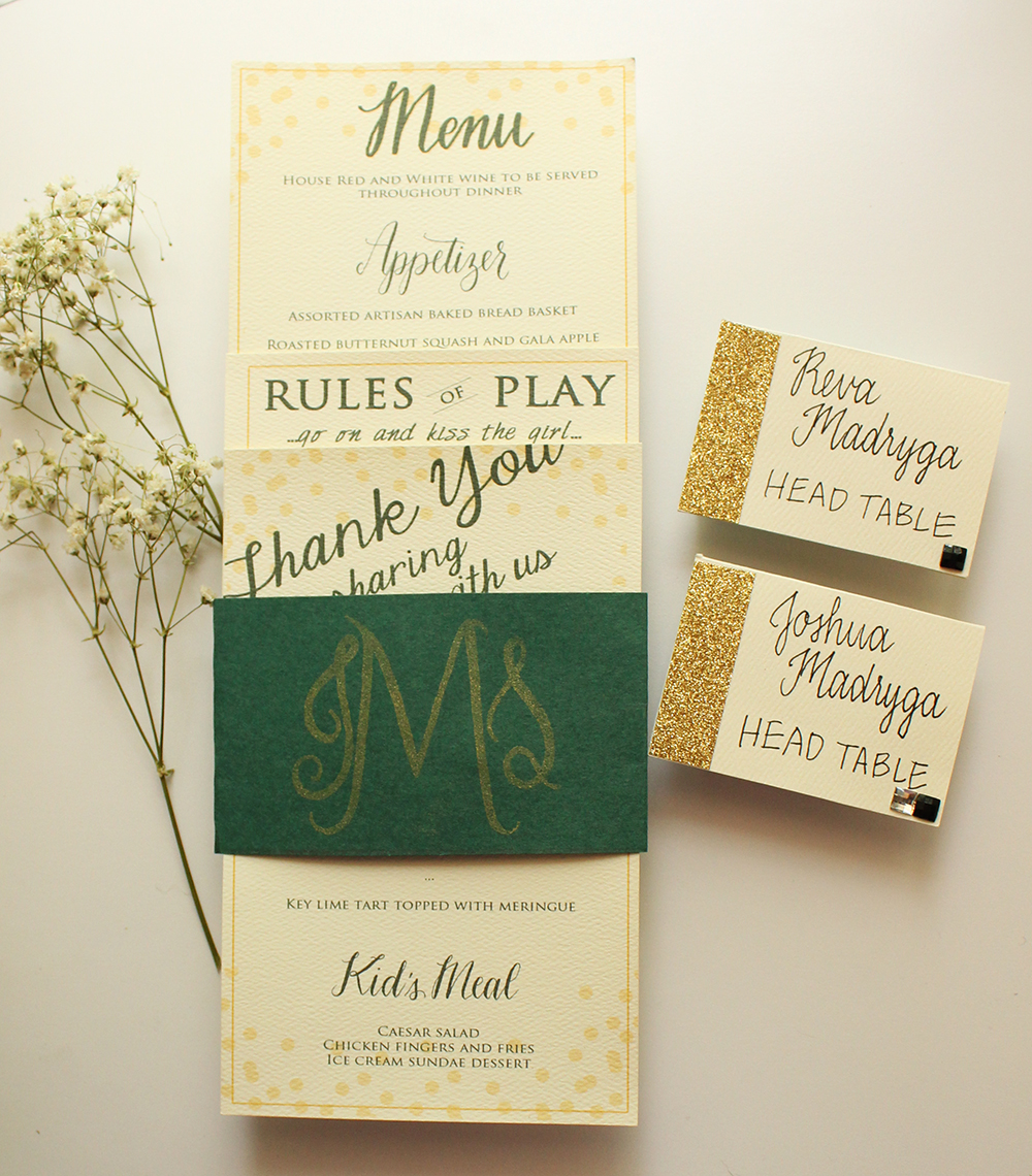 Wedding Stationery - Green and Gold - A MacLeod Wedding - by Daughter Zion Designs