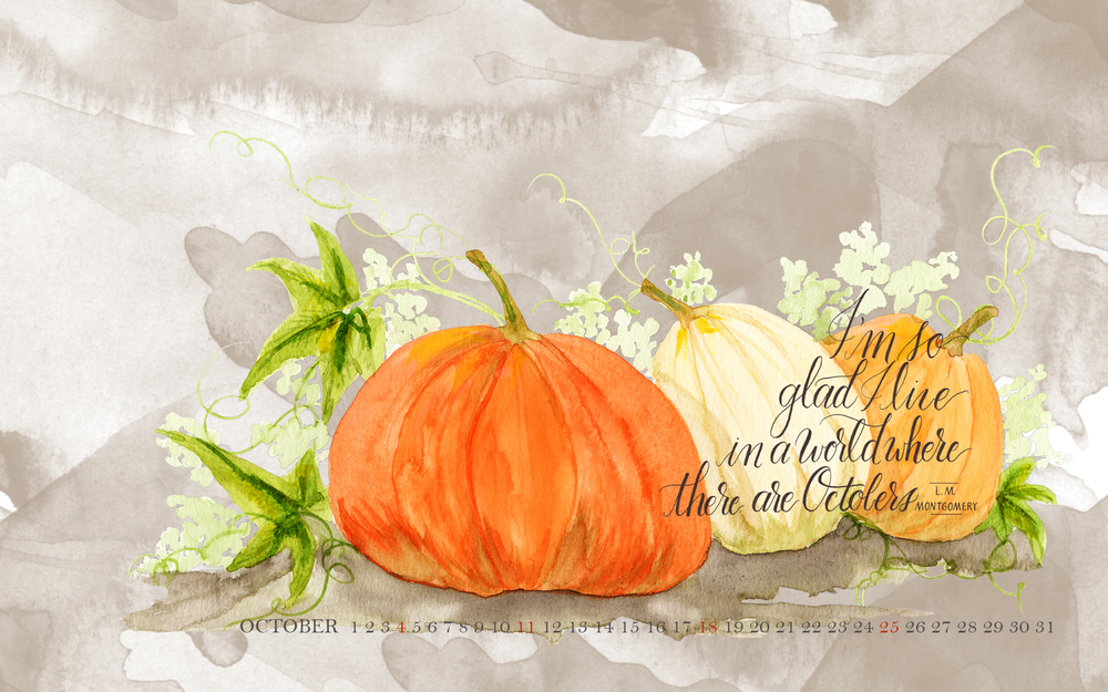 October Desktop Calendar - Free Wallpaper Download - By Daughter Zion Designs