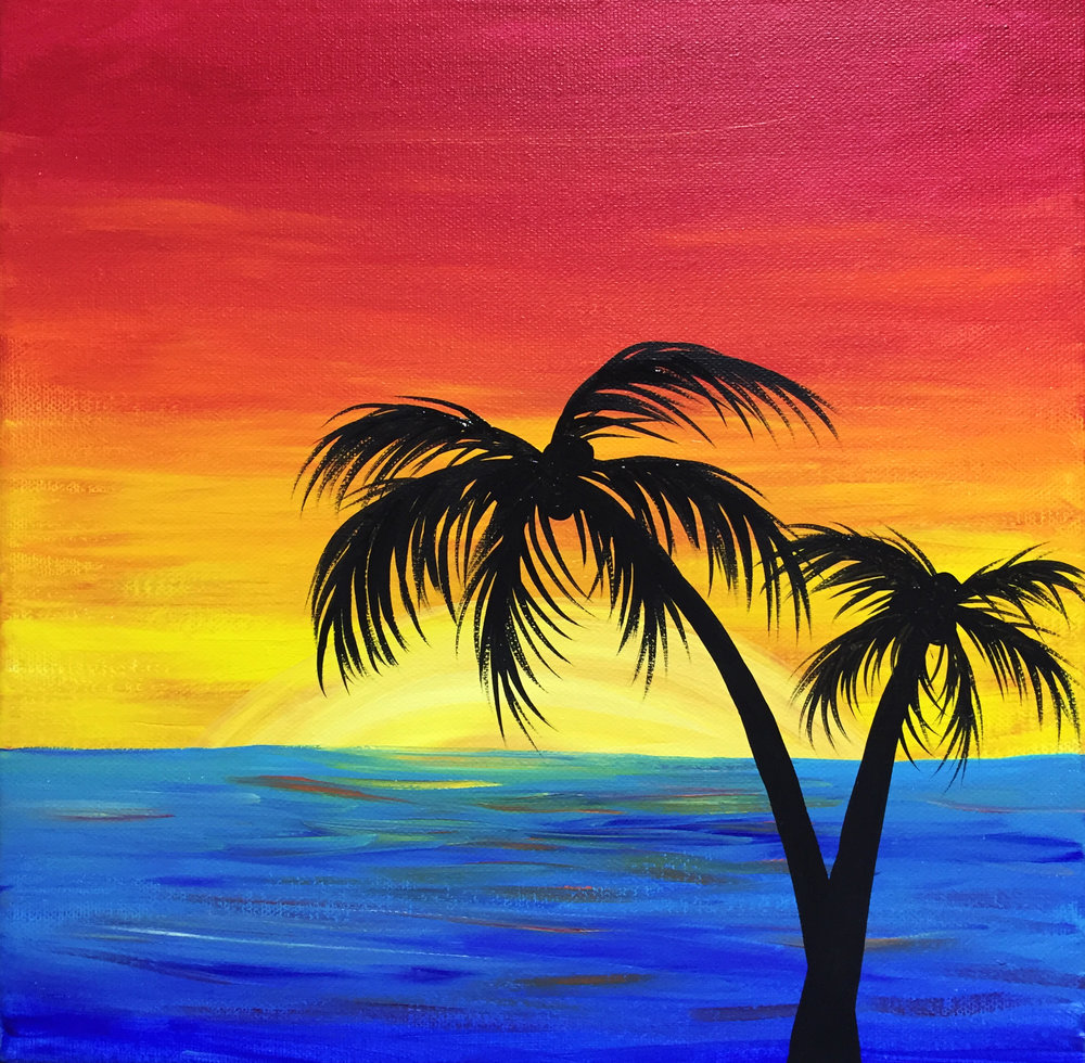 Sunset Palms Silhouette - Customizable!