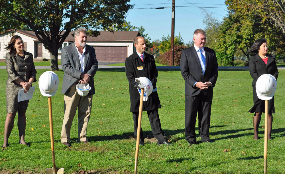 On Oct. 11, 2012, WMS began its expansion with a Ground Breaking Ceremony. Pictured left to right are: Jacqueline Griebel, WMS Head of School; Nichols Construction Team CEO, John Nichols; the Honorable Judge Scott Odorisi, NY State Assemblyman Mark Johns; and President of the WMS Board of Trustees, Garland Nichols.