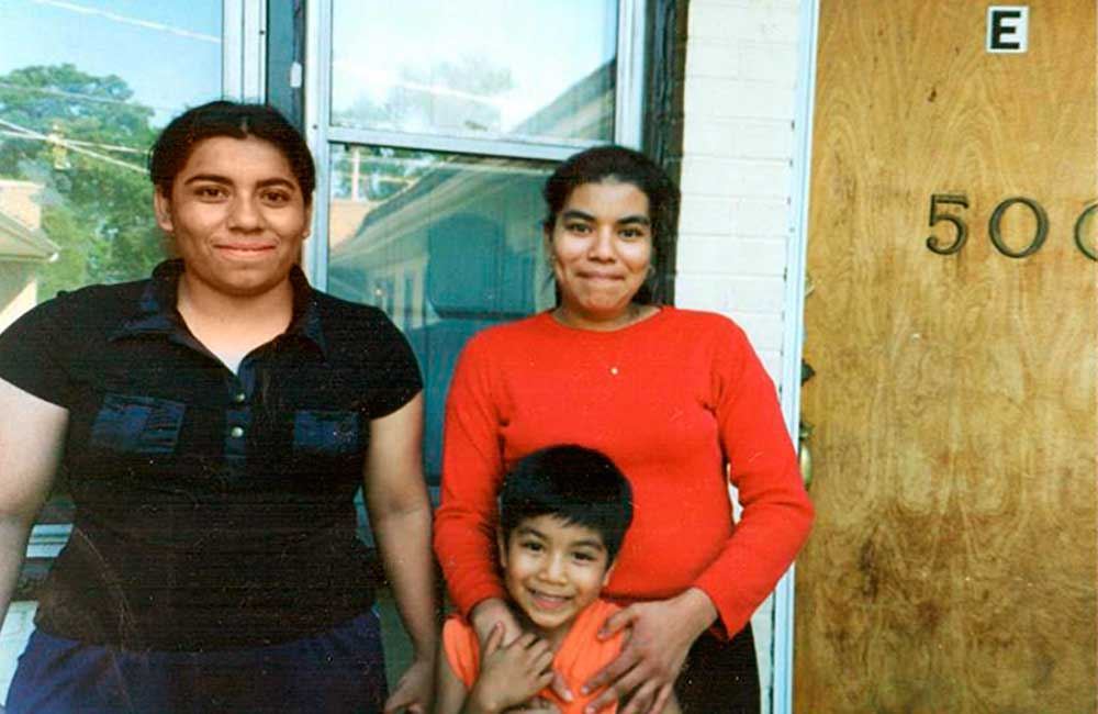 (2003)   Celita Vasquez, tenant leader, and her neighbors, in 2003 fight eviction. Celita was the union leader at Carousel Linens next door.