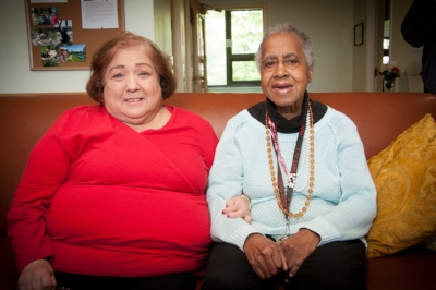 Mable, at right, with neighbor Donna. Courtesy of Housing Opportunities and Maintenance for the Elderly (H.O.M.E.), Chicago, IL