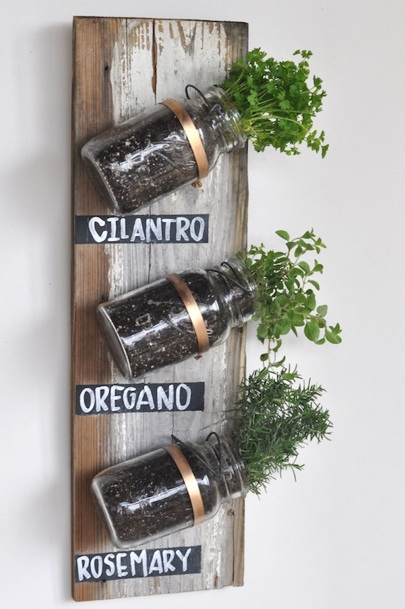 DIY Mason Jar Herb Garden. Image Source: BobVilla.com