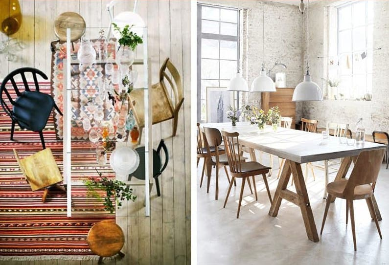 "Image Source:  Livet Hemma (IKEA) / Rum Hemmavia via Apartment Therapy, ""10 Style Tips for Pulling Off a Mix Match Dining Set"",  Image credit: Melissa DiRenzo"