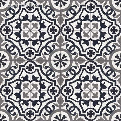 Source:  Cement Tile Shop  - Amalia Black  Tile  (  12 8x8 tiles per box   =   $82.80,   Est. fo  r 1,100 sq. ft. / ~209 boxes =   $17,305.20  )