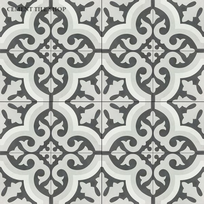 Source:   Cement Tile Shop   -      Kyra II   Tile  (  12 8x8 tiles per box   =   $82.80  ,   Est. fo  r 1,100 sq. ft. / ~209 boxes =   $17,305.20  )