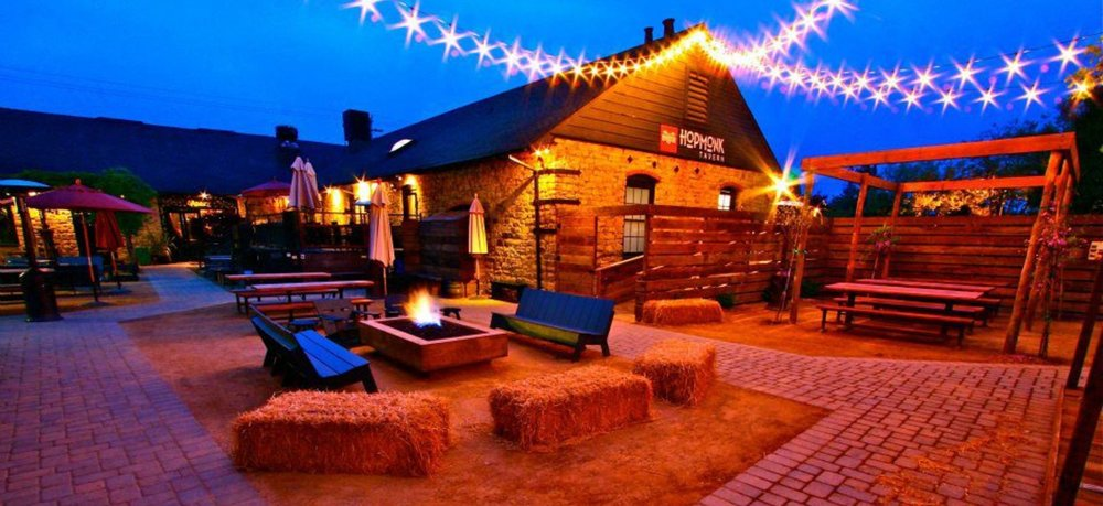 Visit this lively spot with a fire-pit patio and live music on weekends. Four-legged friends are welcome!