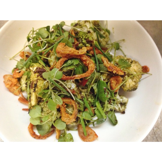 Charred cauliflower salad - almond pesto, peppercress, fried anchovies, and crispy shallots.
