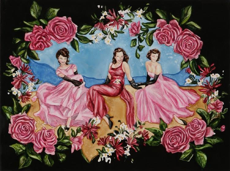 """The Three Graces   Watercolor on board   9"""" x 12""""   ©Annika Connor"""