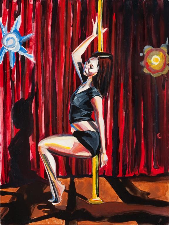 """Pole Dancer 2   Watercolor on board   12"""" x 9""""   ©Annika Connor"""