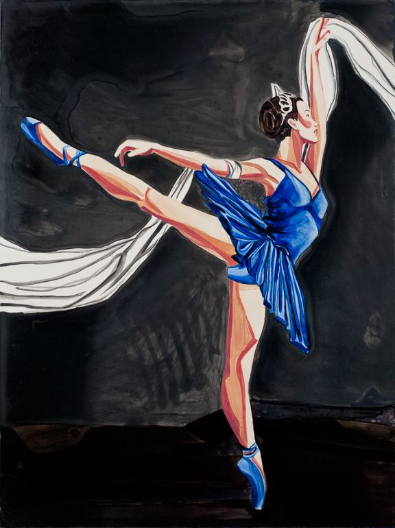 "Ballet Blue   24"" x 18""   Watercolor on board    ©Annika Connor"
