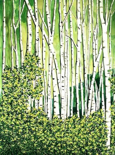 "Birch Forest   40"" x 30""   watercolor on board   ©Annika Connor"