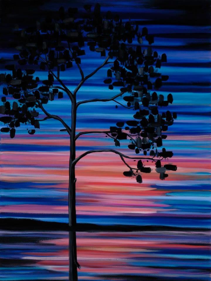 "Sunset Swim   48"" x 36""   oil on canvas   ©Annika Connor"