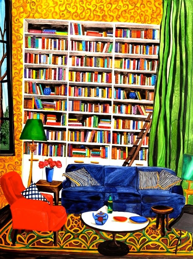 "Library 3 watercolor 24"" x 18""      ©Annika Connor"