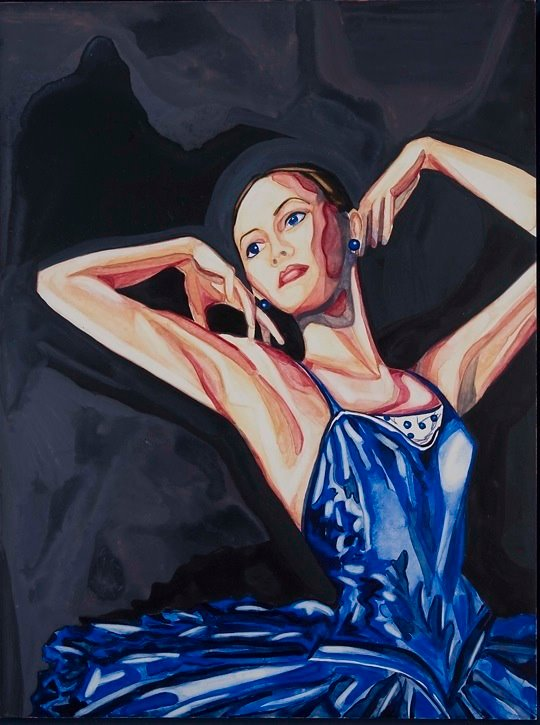 "My Blue Valentine   12"" x 9""   watercolor on board    ©Annika Connor"