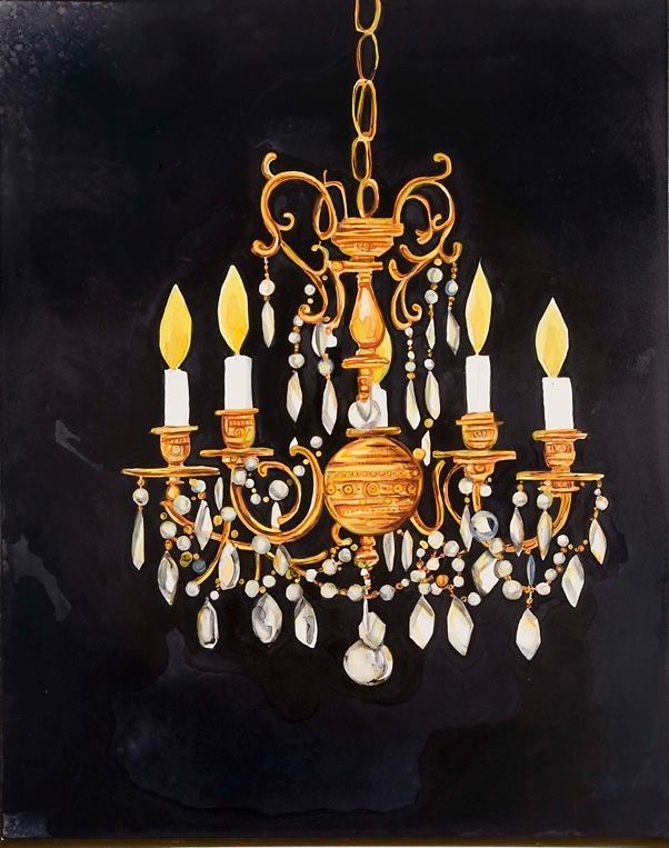 "Chandelier 2   watercolor on board   20"" x 16"