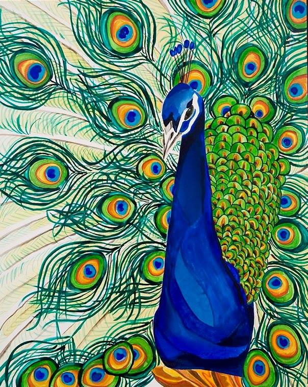 "Peacock Portrait    watercolor on board 20"" x 16"""