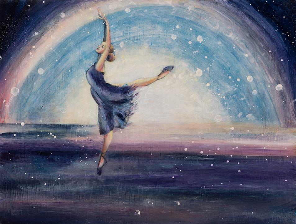 """Snow Dance   9"""" x 12""""   Oil on board   ©Annika Connor"""