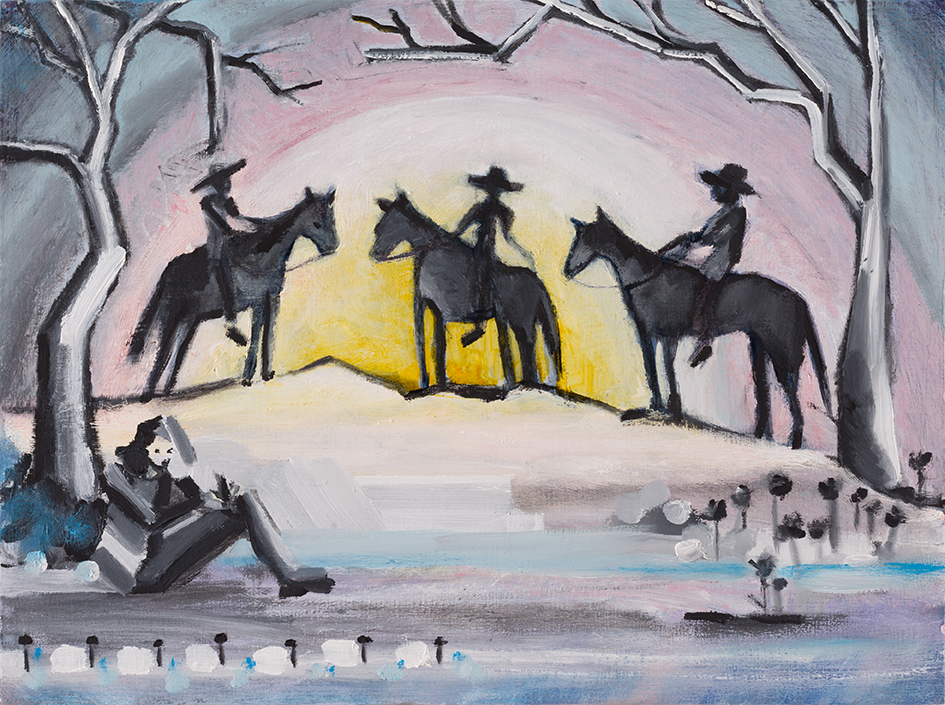 "Snow Cowboys 9"" x 12"" Oil on board ©Annika Connor"