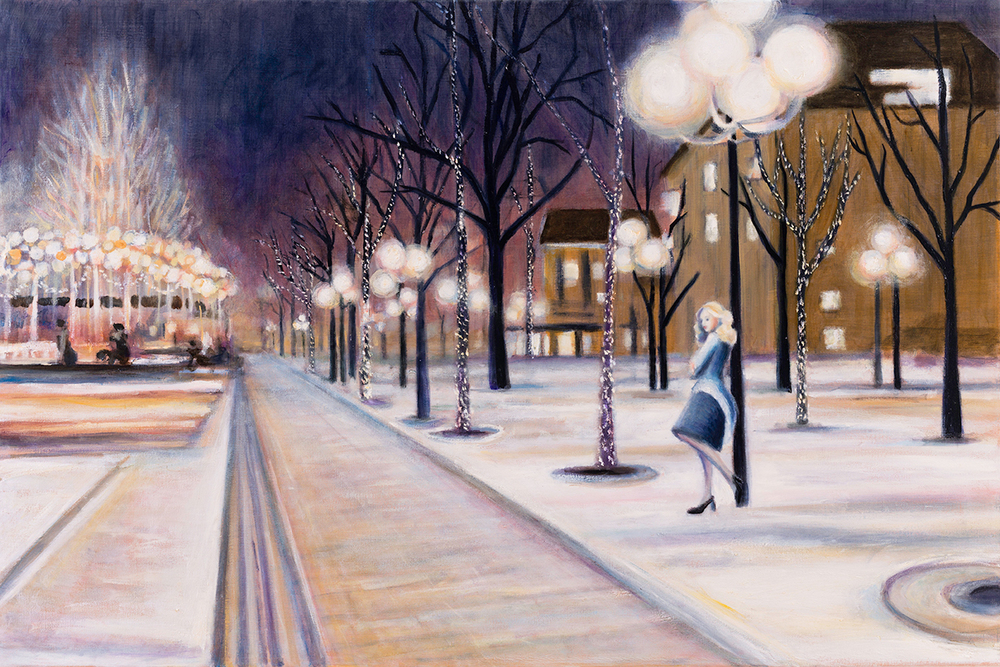 "Stockholm Snow   24"" x 36""   Oil on Linen    ©Annika Connor"