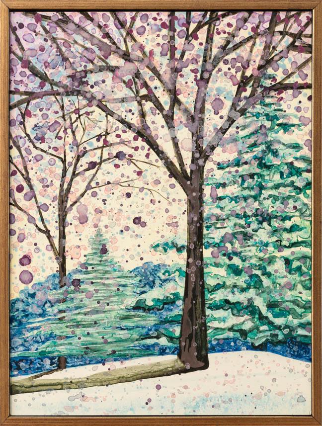 """Purple Snow 2   12"""" x 9""""   watercolor on board   ©Annika Connor"""