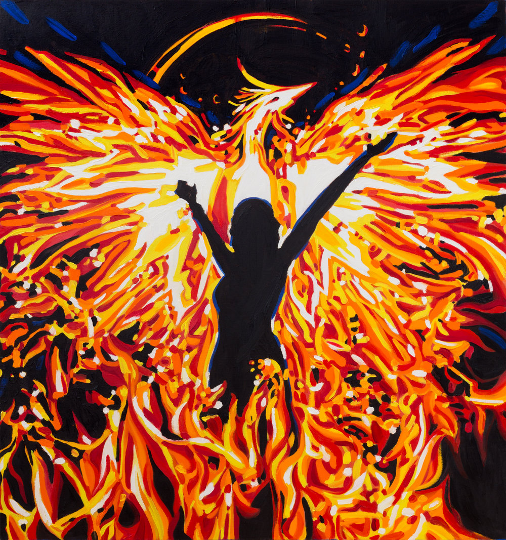 "Phoenix  51"" x 48""  Oil on Linen  ©Annika Connor"