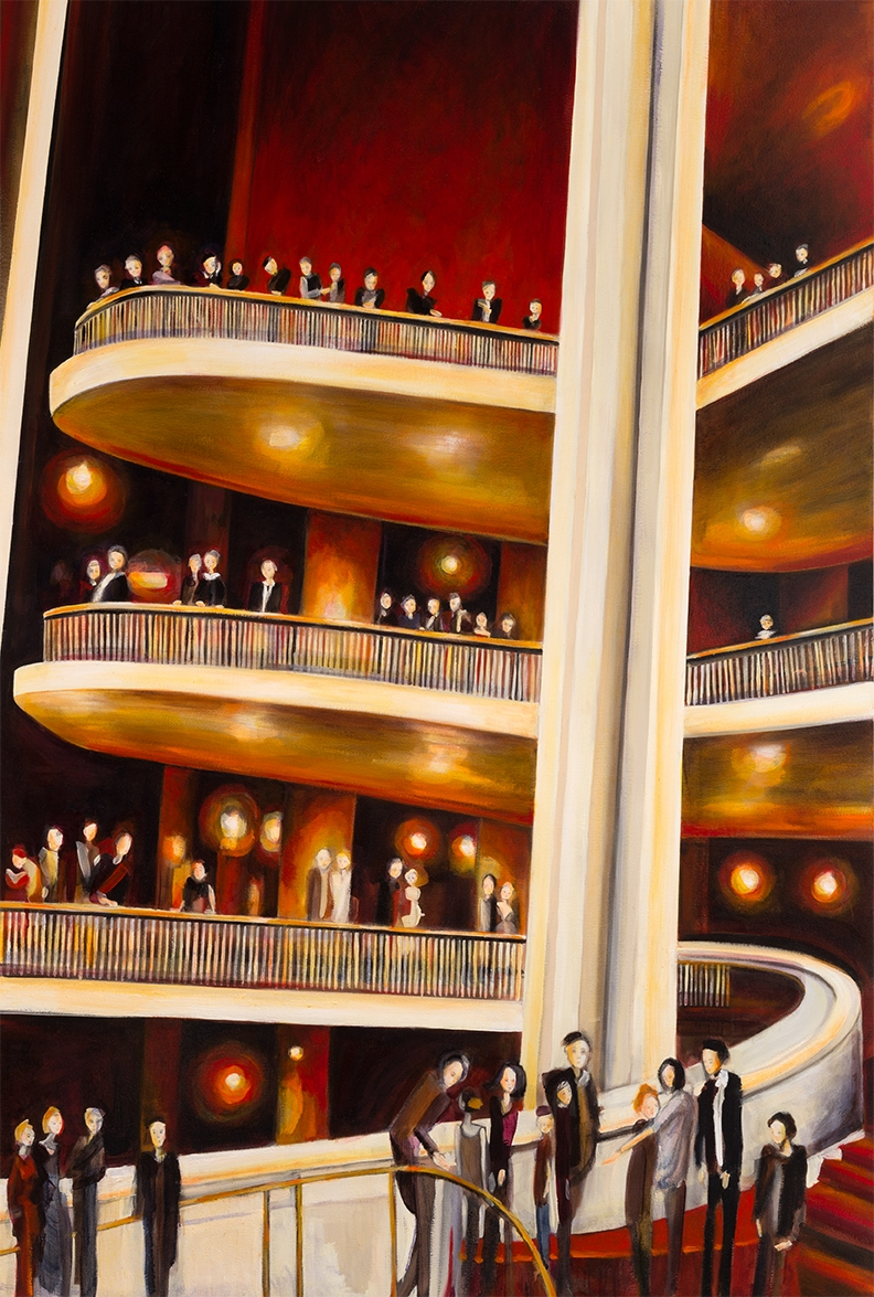 """Night at the Met   72"""" x 48""""   Oil on Canvas   ©Annika Connor"""