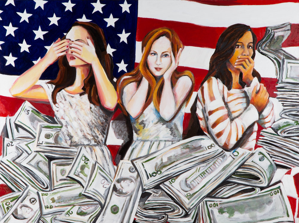 "American Greed Oil on Linen 30"" x 40"" ©Annika Connor"