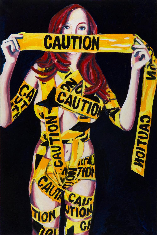 "Caution  36"" x 24""  Oil on Linen  ©Annika Connor"