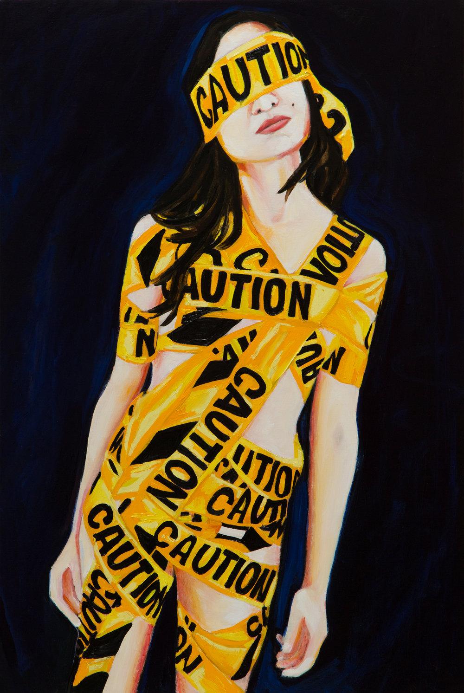 """Caution Caution  36"""" x 24""""  Oil on Linen  ©Annika Connor"""