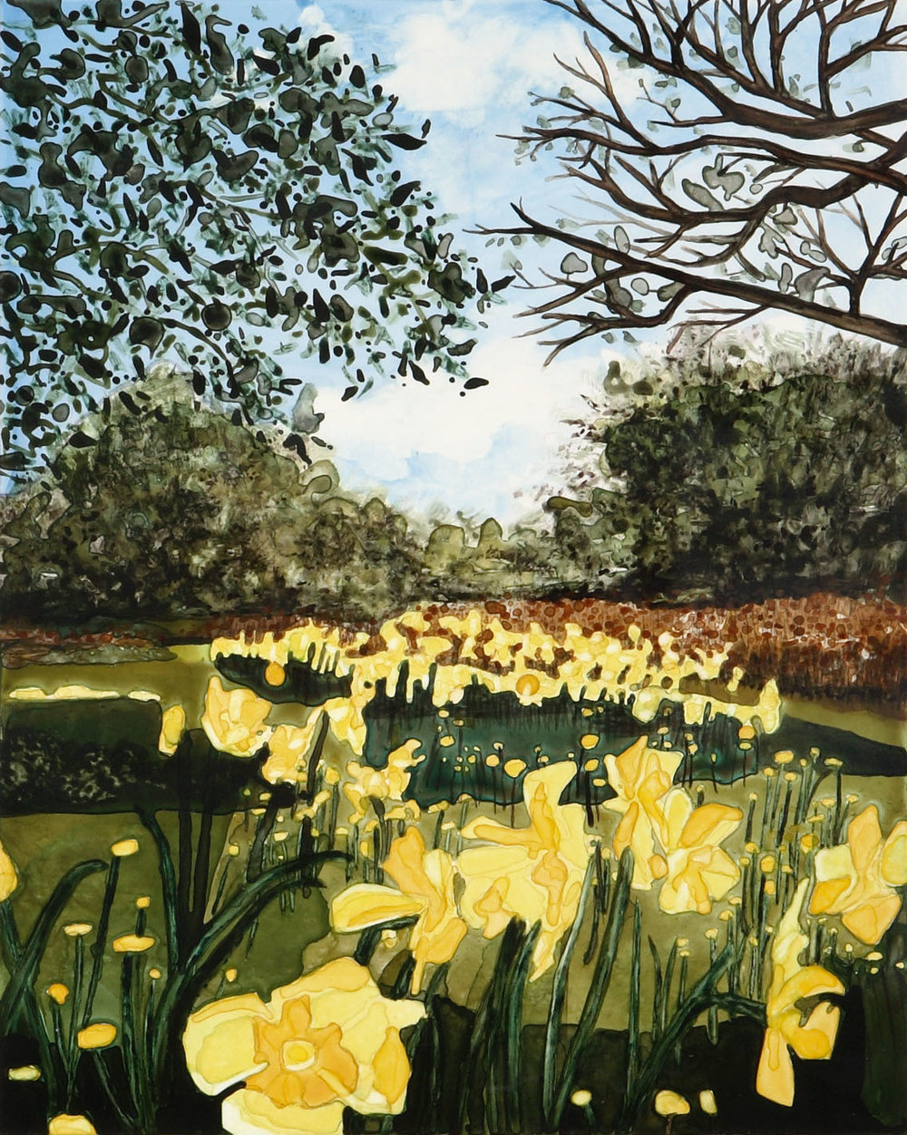 "Sun Gardens watercolor 20"" x 16""  ©Annika Connor"