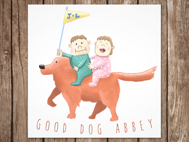 A print I framed for my niece and nephew's first birthday. They've got a lovable golden retriever named Abbey.