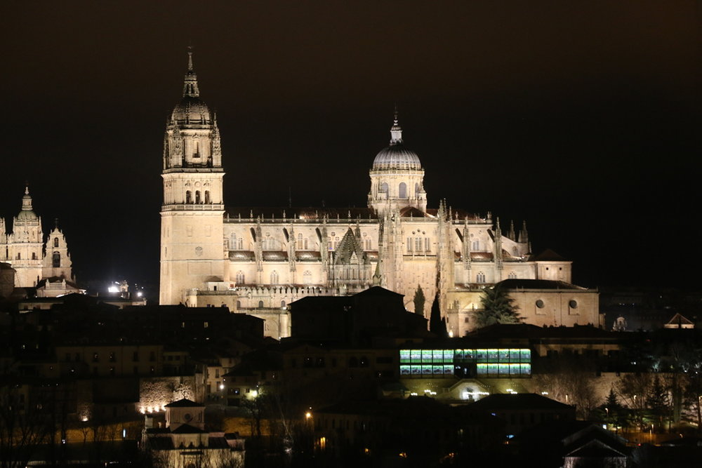 - Night view of the Salamanca Cathedral, Spain