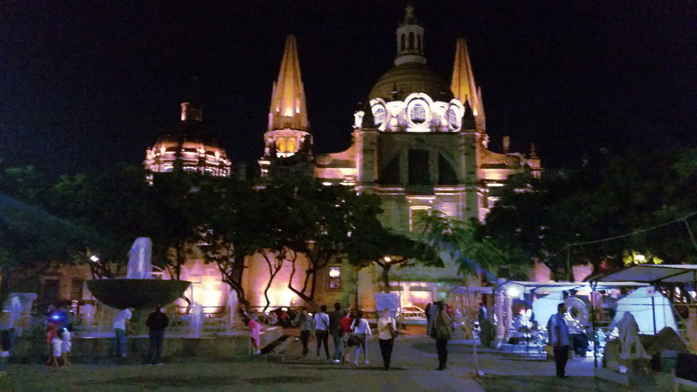 Saturday night at downtown's plaza and the Guadalajara Cathedral. -