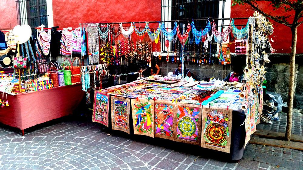 Arts and crafts vendor in Mexico