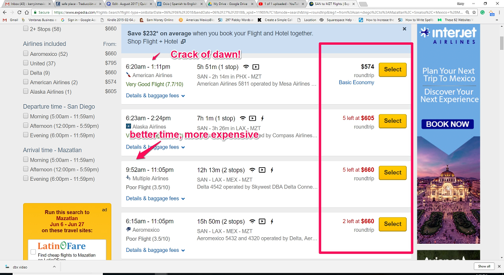 The costs flights to Mexico on Expedia, with two-weeks notice, on American carriers -