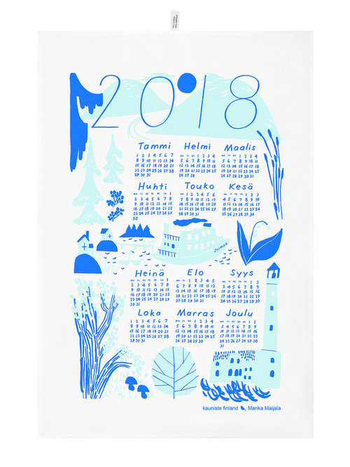 Calendar Kitchen Towel 2018 Blue Kauniste Finland