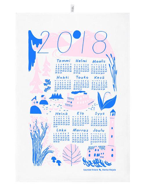 seurasaari joulu 2018 Calendar Kitchen Towel 2018 Pink KAUNISTE FINLAND seurasaari joulu 2018