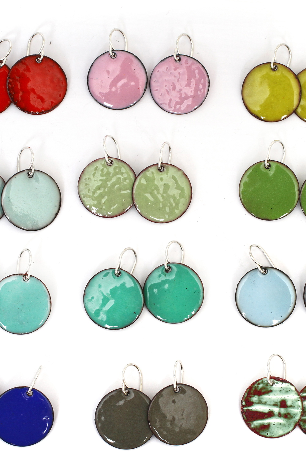 Enameled Circle Earrings