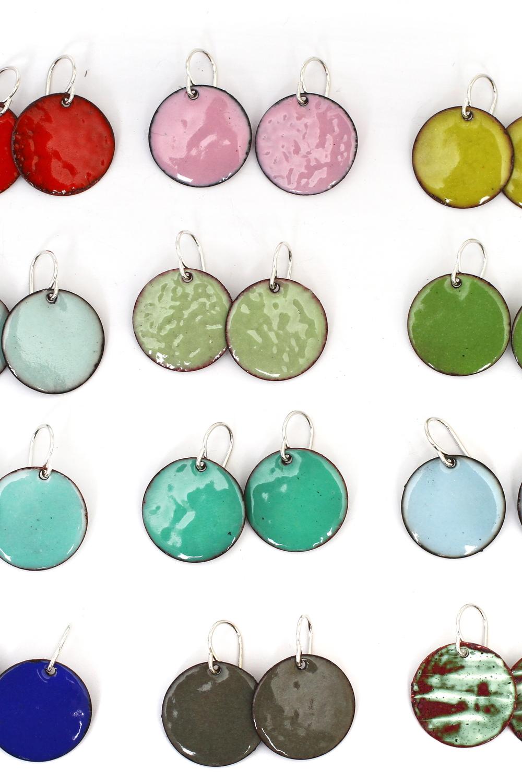 Enameled Circle Earrings