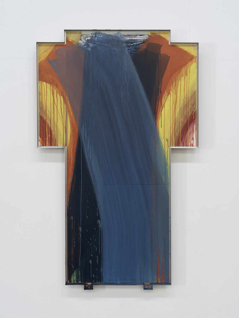 Arnulf Rainer,  Kreuz, 'Cranachkreuz II' (Cross, 'Cranach Cross II') , 1999/2000. Photo: John Berens