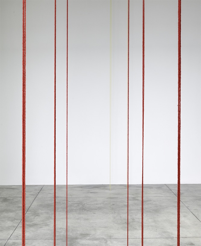 Fred Sandback,  Untitled (detail) , 1982. Red acrylic yarn